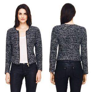 CLUB MONACO Wool Tweed Vegan Leather Zip Jacket